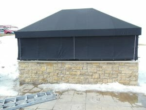 Custom canopy cover with roll up sides by Acme Awning