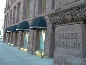 Circle awnings on historical building in Minneapolis