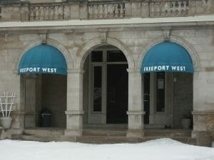 Classic dome awning with valance graphics in Twin Cities