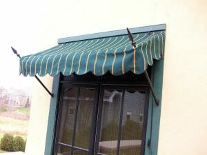 Closer look at a spear Venetian window awning