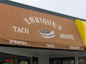 Twin Cities' taco eatery chose Acme Awning for their traditional style awning with graphics and a loose valance.