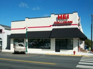 Commercial building with awnings of different heights