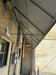 Underneath View of Standing Seam Awning