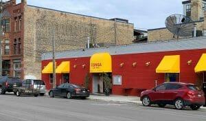 Vibrant exterior at Conga Latin Bistro in Minneapolis
