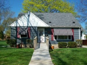 Window Awnings with Stripes